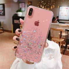 Sequins Case For iphone 8 7 Plus 6 Epoxy Star Transparent Case For iphone X XR XS MAX 10 Soft TPU Cover Selling glitter bling sequins transparent phone iphone XS MAX XR X 8 7 6 Plus Packing * brand phone case Iphone 10, Iphone 7 Plus, Apple Iphone, Buy Iphone, Glitter Phone Cases, Cute Phone Cases, Pink Phone Cases, Insta Store, Iphone7 Case