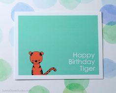 Tiger Happy Birthday Handmade Greeting Card by SunnyDoveStudio #cute #kawaii #handmade #card #greetingcard #etsy #leo #tiger #birthday