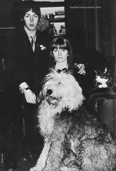 January 1968. Paul and girlfriend Jane Asher and dog Martha photographed for the forthcoming official biography 'The Beatles' by Hunter Davies which was about to be released in hardback..