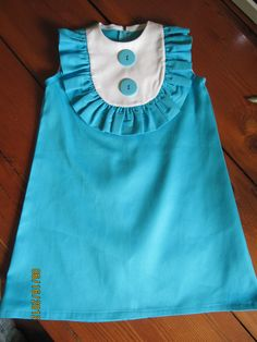 Retro  1960's style  sleeveless Layla dress... with bib and ruffle-children clothing