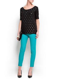 Polka-dot print oversized t-shirt