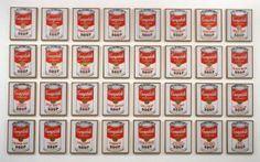 """Andy Warhol [Paintings] embodiment of the American Dream in art and life: Warhol was made famous by his renditions of everyday American things.  From his Campbell's soup cans and Brillo boxes, to his pop art of Marilyn Monroe, he puts the comman into the spotlight.  Through his artwork, Warhol also was able to achieve his own American Dream. [1962. Synthetic polymer paint on thirty-two canvases, Each canvas 20 x 16"""" (50.8 x 40.6 cm)]"""