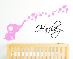 Elephant Bubbles Personalized Girl Name Wall by Clarkwallartdecal