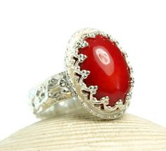 Red Coral Ring Sterling Silver Natural by TazziesCustomJewelry