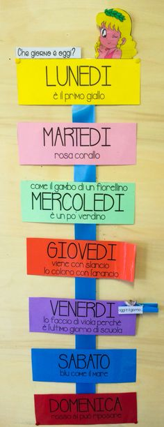 Filastrocca settimana I School, School Classroom, Primary School, Classroom Daily Schedule, Learning Activities, Activities For Kids, Object Lessons, Italian Language, Learning Italian