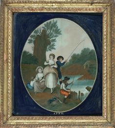 Five Chinese Export Reverse Paintings on Glass Months of the Year, c. 1795. Includes: January, February, April, May and June. Oil on glass, 14 x 12 inches each.