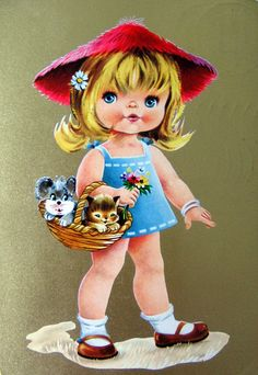 70s Big Eyed Girl Postcard | Sillyshopping | Flickr