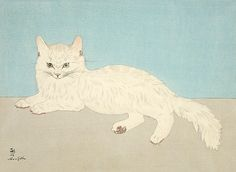 Fujita Tsuguharu (Leonard Foujita) (Japan and France, 1886-1968) - Color woodblock print, Japan, first half of 20th century