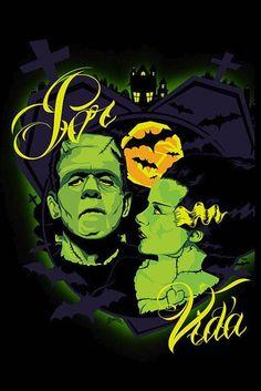 Por Vida Monsters by Charlie Medina Tattoo Art Print Bride of  Frankenstein #PopArt