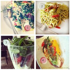 Four Things I Ate :: Warm Quinoa Salad, Shrimp Pesto Pasta, Breakfast Smoothie, Chicken + Veggie Fajitas  www.healthybecauseican.com