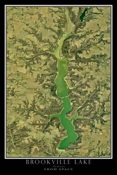 Brookville Lake Indiana From Space Satellite Art Poster