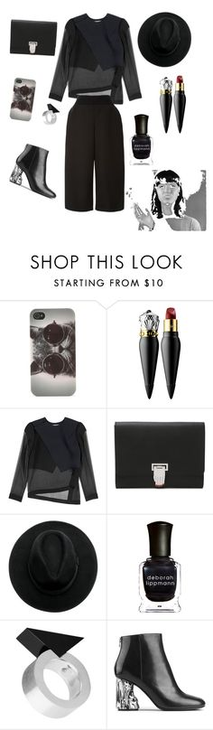 """Back to black"" by sivan-saranga ❤ liked on Polyvore featuring With Love From CA, Christian Louboutin, Dion Lee, Opening Ceremony, ANNA, Deborah Lippmann, Moonsoo Kim, Acne Studios and Monique Lhuillier"