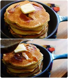 Banana-bacon pancakes with buttery bourbon maple syrup