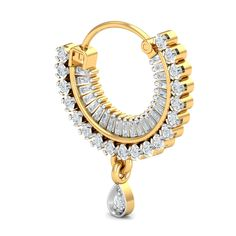 This diamond nath for women with pierced nostrils is an easy to wear item that goes safely through your piercing and clicks into the lock to form a comfortable sitting on your nose. It has an elusive traditional feel about it and is great for any big trad