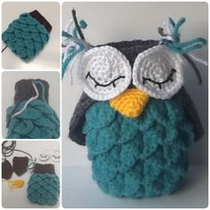DIY Crochet Owl in Crocodile Stitch with Free Pattern #Crochet #Crocodile #Pattern #Owl