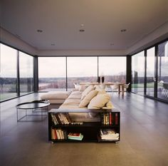 Cozy, modern lounge with panorama view, Utriai House, Lithuania, designed by Architectural bureau G. Natkevicius and partners