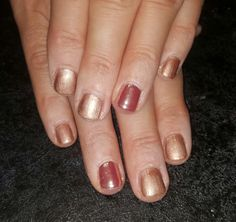 Iced Cappuccino Shellac with Rose gold mirror shine powder