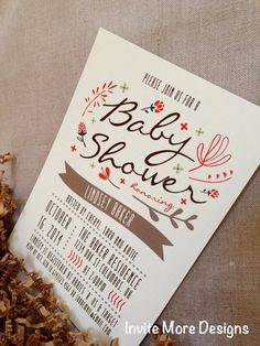 Fall Baby Shower Invitation, Fall Floral Baby Shower Invitation  Fall  Bridal Shower Invitation Via
