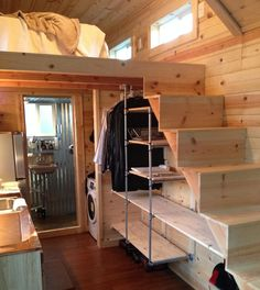 A 280 square feet tiny home on wheels with wet bath and composting toilet in Nampa, Idaho. Built by Tiny Idahomes.