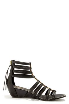 Report Meliza Black and Gold Caged Wedge Sandals