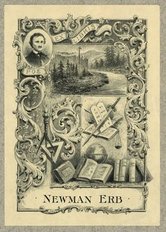 [Bookplate of Newman Erb, railroad executive]. [between 1880 and 1920]. 1 print : etching ; bookplate 11.7 x 8.2 cm, on mount 22.8 x 15.2 cm. Ruthven Deane Bookplate Collection, Library of Congress, Prints and Photographs Division.