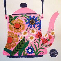 Art and Illustration by Tara Lilly Studio: Painted Teapot Art And Illustration, Tee Kunst, Scandinavian Folk Art, Tea Art, Whimsical Art, Art Plastique, Collage Art, Art Lessons, Painting & Drawing