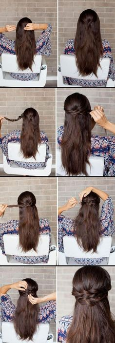 Half Up-Half Down Hairstyles For Long Hair - Braided Half-Up How-to - Ea., Amazing Half Up-Half Down Hairstyles For Long Hair - Braided Half-Up How-to - Ea., Amazing Half Up-Half Down Hairstyles For Long Hair - Braided Half-Up How-to - Ea. Down Hairstyles For Long Hair, Wedding Hairstyles Half Up Half Down, Braids For Long Hair, Hairstyles With Bangs, Trendy Hairstyles, Braids Easy, Bangs Updo, Long Haircuts, Easy Curls