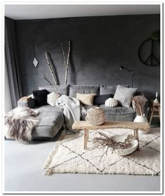 Feet vintage beni ourain handmade rug/moroccan runner rug add a beautiful touch to your home Dark Living Rooms, Home Living Room, Interior Design Living Room, Living Room Designs, Living Room Decor, Bedroom Decor, Interior Livingroom, Bedroom Ideas, Living Room Inspiration