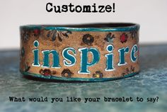Customized Leather Cuff  Bracelet  Stamped Tooled by TracyMoserArt