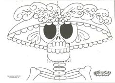 Spanish Halloween/Día de Muertos poems Moldes Halloween, Halloween Boo, Arts Ed, Paper Toys, Day Of The Dead, Stencils, Minnie Mouse, Disney Characters, Fictional Characters