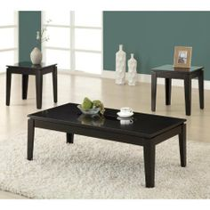 "3 Piece Coffee Table Set by Monarch Specialties Inc.. $163.16. 3 pcs set includes coffee table and two end tables. Wood product construction. Dark espresso finish with tempered glass insert. Coffee Table: 44""L x 22""W x 15""H. Assembly required. I 7852P Construction: -Solid wood construction. Color/Finish: -Glossy dark expresso finish."
