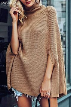 Autumn Winter Women Turtleneck Capes Casual Pullover Knitting Sweater Shawl Loose Plus Size Solid Color Poncho Coat Cape Femme Costume Français, Style Japonais, Knitted Coat, Sweater Coats, Loose Sweater, Poncho Coat, Brown Sweater, Sweater Outfits, Batwing Sleeve