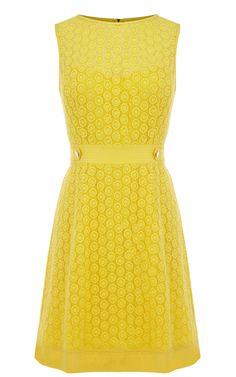 Karen Millen Broderie Dress Yellow ,fashion  Karen Millen Solid Color Dresses outlet