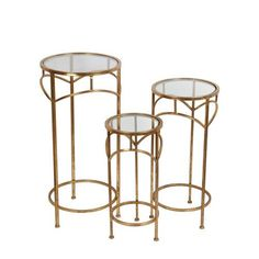 Gold Plant Stands, Set of Three