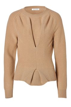 J.W.ANDERSON Boiled Wool Twisted Pullover In Camel. #j.w.anderson #cloth #knitwear