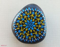 Medium Hand Painted Alchemy Stone with Blue, Yellow & White Sacred Geometry Starburst Mandala Design Blue Yellow, Blue And White, Rainbow Prism, Flat Stone, Easy Meditation, Mandala Design, Sacred Geometry, Stone Painting, Alchemy
