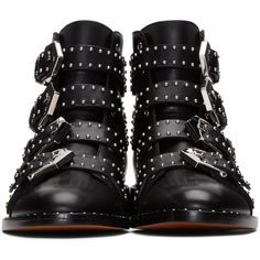Givenchy Black Studded Buckle Boots ($1,430) ❤ liked on Polyvore featuring shoes, boots, genuine leather boots, studded boots, strappy boots, black boots and buckle strap boots