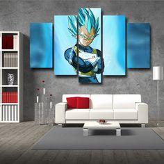 Dragon Ball Super Vegeta God Blue SSGSS 5pc Wall Art Decor Posters Canvas Prints  #DragonBall #SuperVegeta #GodBlueSSGSS #5pcWallArtDecorPosters #CanvasPrints