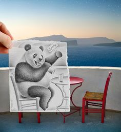 """Lunatica Desnuda: Fantastic Fusão de Desenho e Fotografia - Amazing Ben Heine """"Pencil Vs Camera"""""""