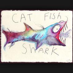 the original cat fish shark I drew circa 2007 Matthew Gray Gubler Art, Scary Art, Human Art, My Canvas, Art For Art Sake, Favim, Catfish, Art Google, Illustration Art