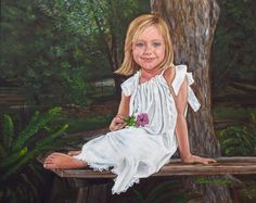 """""""Girl in the Garden"""" portrait by Patricia Thomas"""