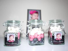 Lana's baptism favors: apothecary jars with jelly beans