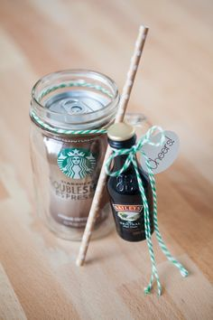 DIY // Cocktail Mason Jar Gift -- Starbucks + Baileys