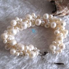 White Pearl Bracelet - 7.5-8.5 inches 4-9mm White Freshwater Pearl Bracelet - Free shipping