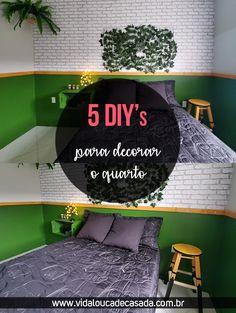 Hoje eu trouxe 5 DIY de decoração para o quarto fáceis e baratos de serem feitos para você copiar aí na sua casa, vem ver o post completo no blog! Posts, Blog, Diy, Home Decor, Wood Scraps, Wooden Stools, Bedroom Decor, Dollar Store Decorating, Wall Tile Adhesive