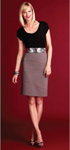 Black Top and Tan Skirt - Cleo