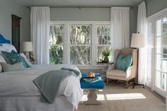 @mondavihome: Master Bedroom with Benjamin Moore's Aura, Matte, Gray Wisp 1570 (walls) and Aura, Matte, Gray Cashmere 2138-60 (ceiling)