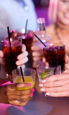Bars and Nightclubs have a couple of drinks with friends.