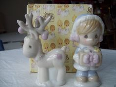 Precious Moments Enesco Girl w Ornaments Reindeer Salt Pepper Shakers | eBay