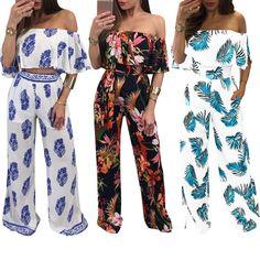 Fashion Women Off-shoulder Romper Top Bodysuit Jumpsuit Party Bodycon Elegant Bodycon Jumpsuit, Palazzo Pants, Elegant Woman, Floral Prints, Rompers, Sewing, Shoulder, Outfits, Dresses